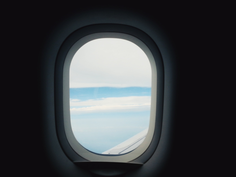 On the plane to Taiwan.