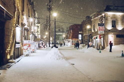 Freelance Travel Photographer | Snowfall at Otaru Hokkaido Japan